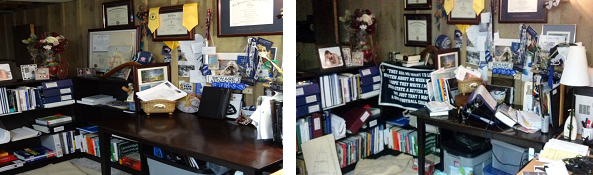 On the left, what my desk is supposed to look like. On the right, what my desk looks like right now with notebooks, supplies, and books scattered everywhere. Photographer: Debra Mynar
