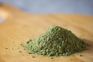 matcha green tea powder on table