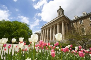flowers blooming in front of Old Main
