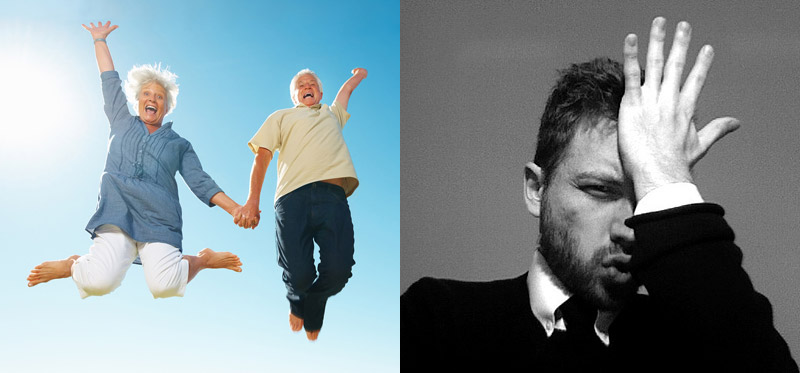 left: person in field jumping for joy. right: man hitting forehead with hand in frustration