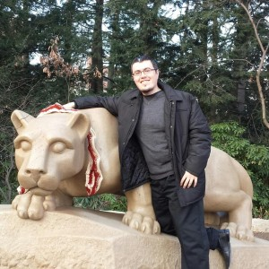 Ray Vasquez at Lion Shrine Statue