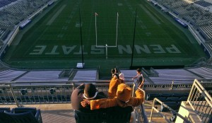 Terry Watson and the Nittany Lion mascot at Beaver Stadium.